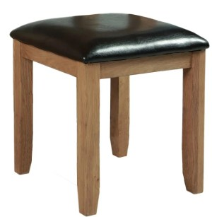 Somerset Oak Stool. Chunky contemporary waxed oak upholstered seat in dark brown faux leather SOM023