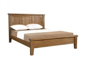 Somerset Oak 135cm Double bed. Chunky contemporary waxed oak low foot end with chunky legs, panelled headboard SOM042