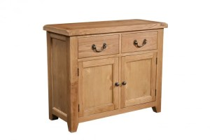 Somerset Oak 2 Door 2 Drawer Sideboard. 2 handy drawers, 2 doors with shelf within. Chunky contemporary waxed oak .chunky top, tapered legs and dark antique brass round rustic knobs and drop down handles. SOM051