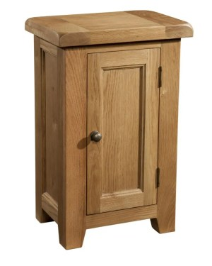 Somerset Oak 1 Door Cabinet. 1 handy door, 1 shelf. Chunky contemporary waxed oak .chunky top, tapered legs and dark antique brass round rustic round knobs. SOM066