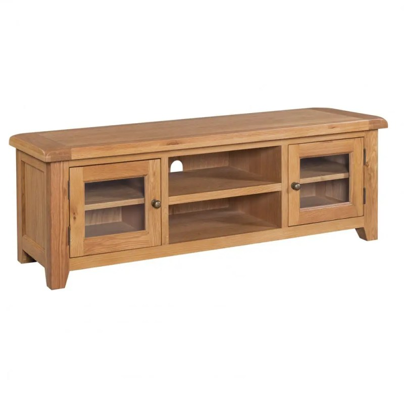 Somerset Oak Wide Screen TV Unit. contemporary chunky oak with wax feel. 2 glass doors to left and right with shelf in centre and shelf inside glass door. Rustic Antique brass knobs SOM088