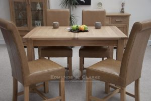 Bury Solid Oak Extending Dining Table- Twin Leaf that stores away under the table. veneered centre panels. square shaker legs
