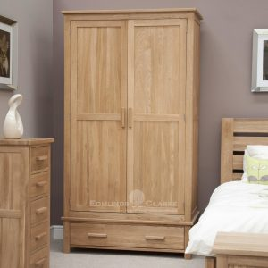 Bury Solid Oak Double Wardrobe with drawer and choice of handles. light lacquered oak