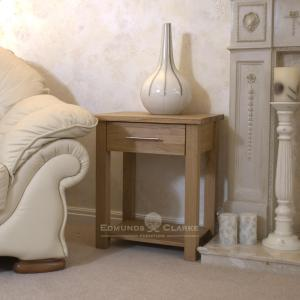 Bury Solid Oak sofa/lamp table. handy drawer and shelf below for extra storage
