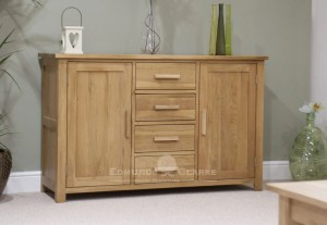 Bury Large Oak Sideboard, 4 centre drawers and cupboard either side. chrome handles as standard, Oak bar handles available as extra