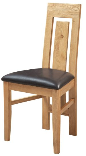 Light Oak Verona Dining Chair with contemporary floating vertical slat back with faux leather seat pad dark brown