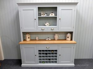 Painted 6ft Dresser & central Wine Rack. 2 handy spice drawers in upper rack. includes 2 panelled doors and centre shelf. sideboard includes wine rack in centre with drawer above and 2 doors either side. choice of handles. EDM038