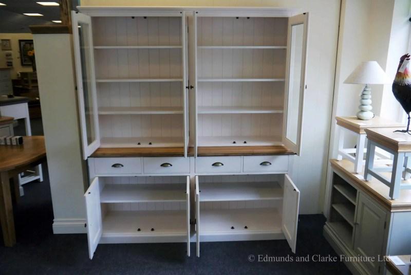 Edmunds 6ft Fully Glazed Dresser. Sideboard has moulded oak top, 4 drawers and 4 doors under. adjustable shelves. choice of handles. EDM06
