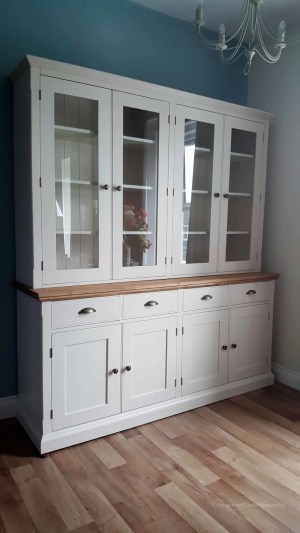 Edmunds painted 6ft Fully Glazed Dresser. Sideboard has moulded oak top, 4 drawers and 4 doors under. adjustable shelves. choice of handles. EDM06