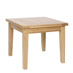 Norwich Oak 90cm Flip Top Extending Dining Table. Image showing Closed. tapered legs. seats 6. NNT05
