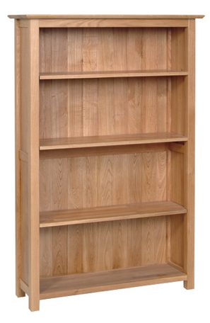 Norwich Oak 5ft tall Bookcase. contemporary shaker style straight lines and shaped edges on tops. 2 adjustable shelves and 1 fixed shelf. NNK30