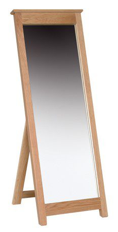 Norwich Oak Cheval Mirror. Floor standing mirror in oak with oak capping. Contemporary shaker style with clean lines. NNM40