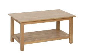 Norwich oak Coffee Table. 92cm contemporary shaker style straight lines and shaped edges on tops. handy shelf at the bottom NNT18