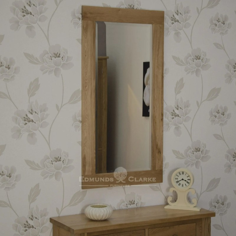 solidoak wall mirror - 115x60 Bevelled mirror glass in chunky oak frame