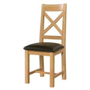 Light Oak Cross back chair with centre cross style in middle. Faux leather seat pad SIE101