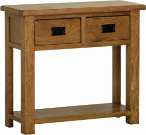 Sudbury Oak 2 Drawer Console Table. rustic shaker style. 2 handy drawers with black drop down handles. shelf at the bottom. SRT20