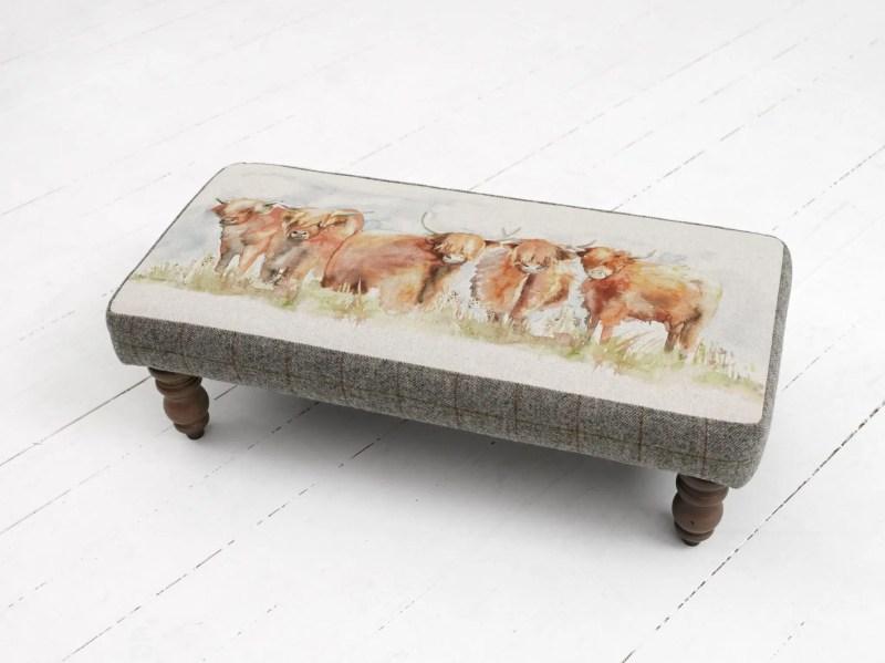 Voyage Maison Mya Footstool - Highland Cattle AFS15004 MYA HIGHLAND CATTLE. rectangle stool with contrasting grey edging
