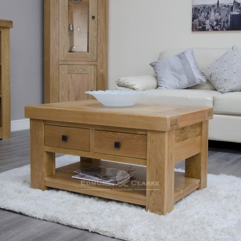 Hadleigh solid oak coffee table with drawers. chunky shaker style oak. two handy drawers and shelf at bottom. choice of handles