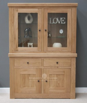 Hadleigh solid oak chunky small glazed dresser. light lacquer with rustic square knobs. adjustable glass shelves at top