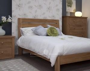 Ssolid oak 6ft super king slatted bed. wide horizontal slats in headboard