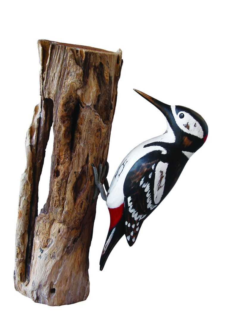 Greater Spotted Woodpecker Wood Carving D187 perched on a trunk. Fair trade