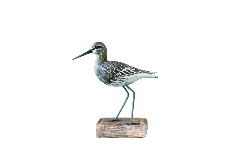 Archipelago Sandpiper Straight Wood Carving D205 Sitting on a block, hand painted and carved. fair trade