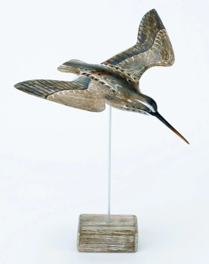 Archipelago Snipe Flying Wood Carving D229. Hand carved and painted. presented on a wood block.fair trade