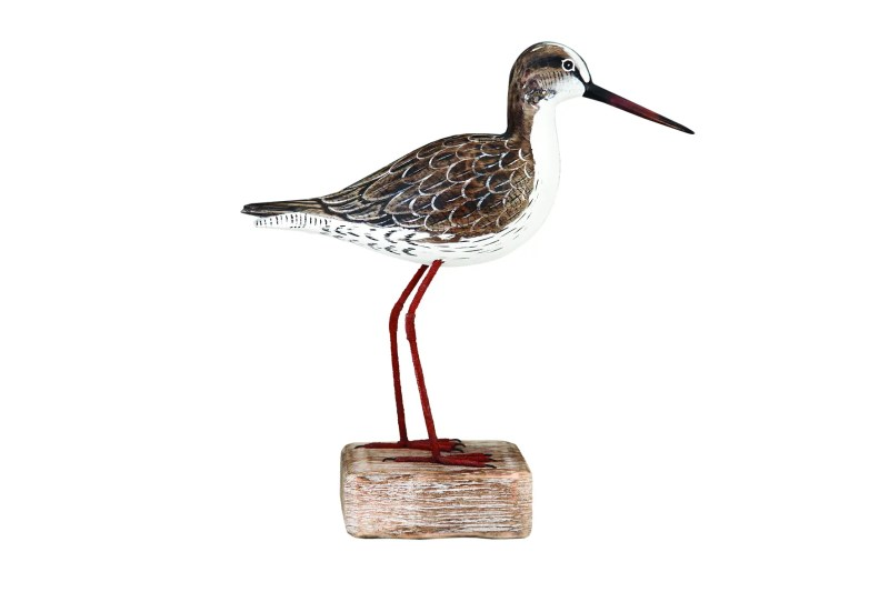 Archipelago Redshank Straight Woodcarving D246. standing on a wood block. Hand carved and painted. fair trade