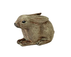Archipelago Leveret Wood Carving D283. crouching down with ears pinned back, hand carved and painted. Fairtrade