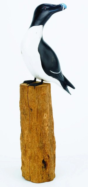 Archipelago Razorbill Wood Carving. D364 sitting on a wood block. hand carved and painted. Fairtrade