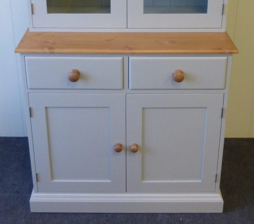 Plain fully glazed dresser. picture cropped to show plain detailing on doors