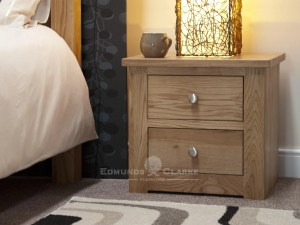 solid oak two drawer bedside chest, chrome tapered knobs