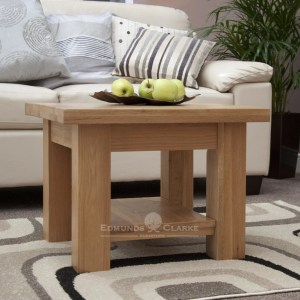 solid oak chunky square leg coffee table with magazine shelf, 2 feet by 2 feet square