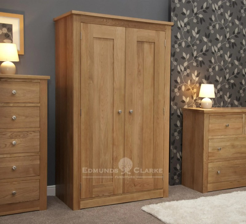solid oak 2 door full hanging wardrobe with internal shelf above hanging rail