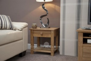 solid oak one drawer lamp table with shelf below