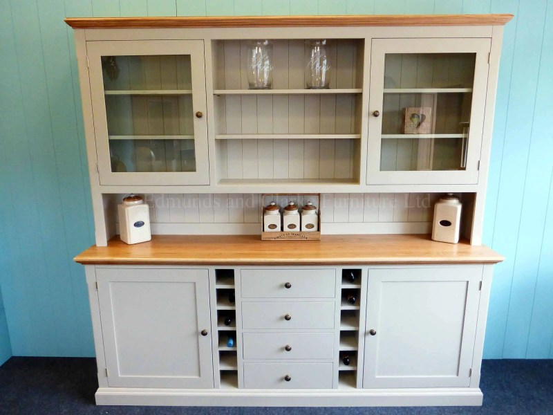 Painted 7ft Dresser With Wine Racks. oak tops and painted shelves