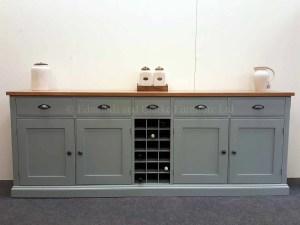 Painted 7ft Sideboard with wine rack, oak tops