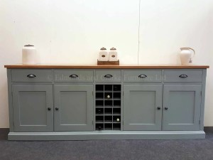 Painted 7ft Sideboard with wine rack, oak tops