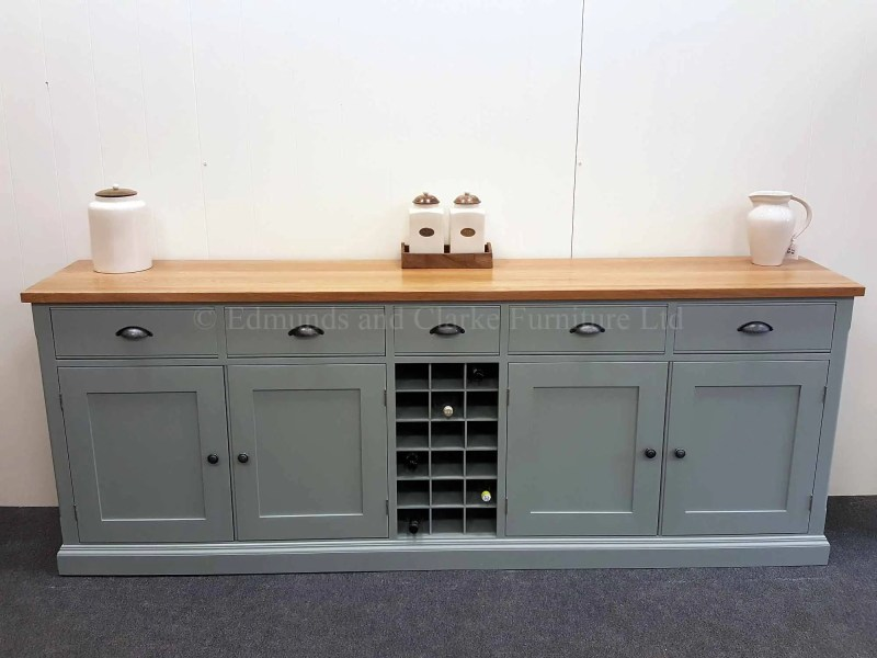 7' painted sideboard with open central wine rack, solid oak top, pewter cup handles and knobs