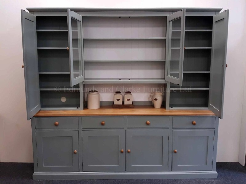 Painted 8ft storage dresser painted grey with oak knobs and top
