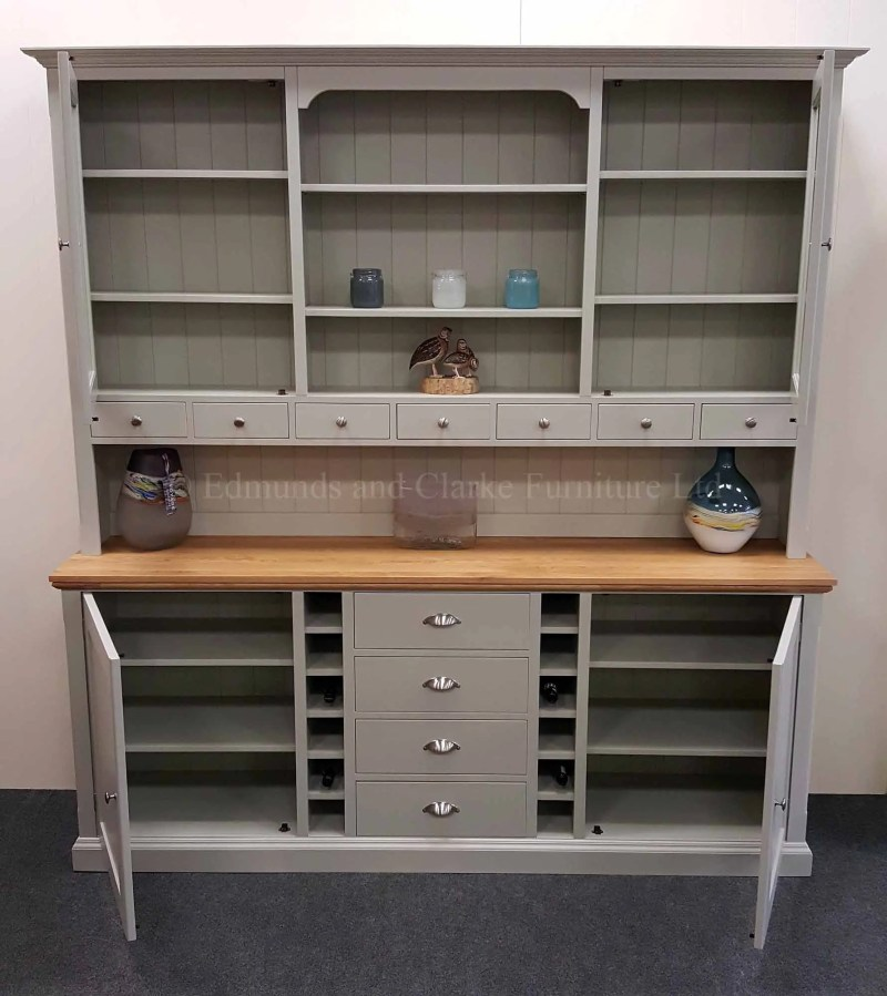 7ft tall painted dresser with solid oak top, choice of colours available