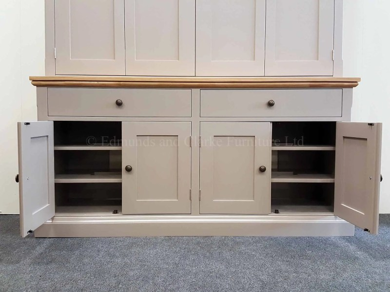Edmunds painted television cupboard made with oak top