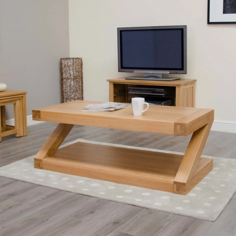 Z Designer 4 x 2 Coffee Table Z4X2CT solid oak chunky design with z shape. modern & contemporary