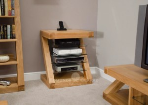 Z designer solid oak hifi unit 4 glass shelves Z shape ZHIFI