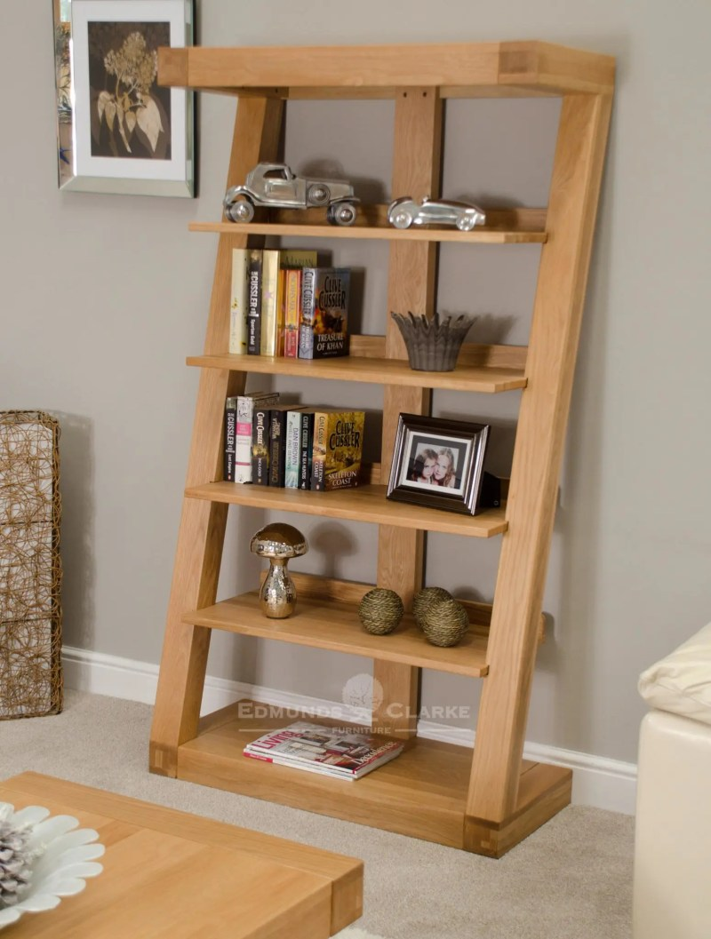 Z shaped solid oak designer style large bookcase five shelves ZLBC