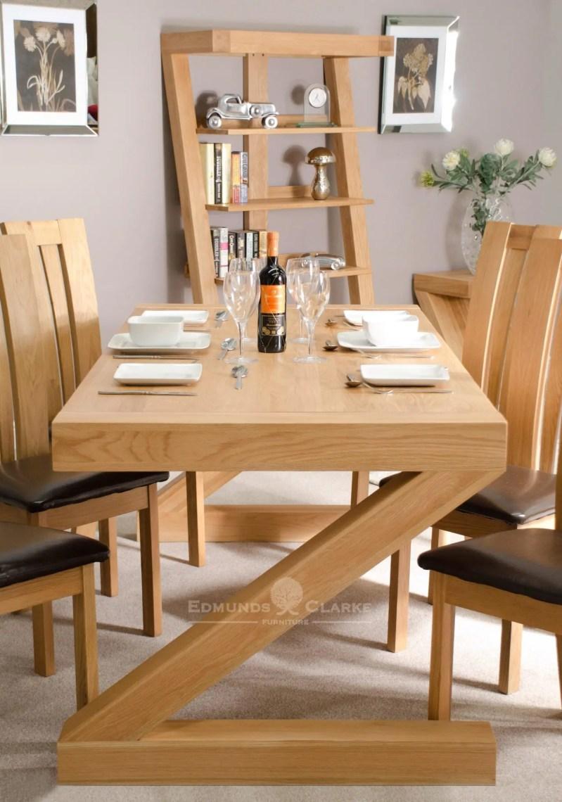 Z6X3T Z shape designed solid oak dining table