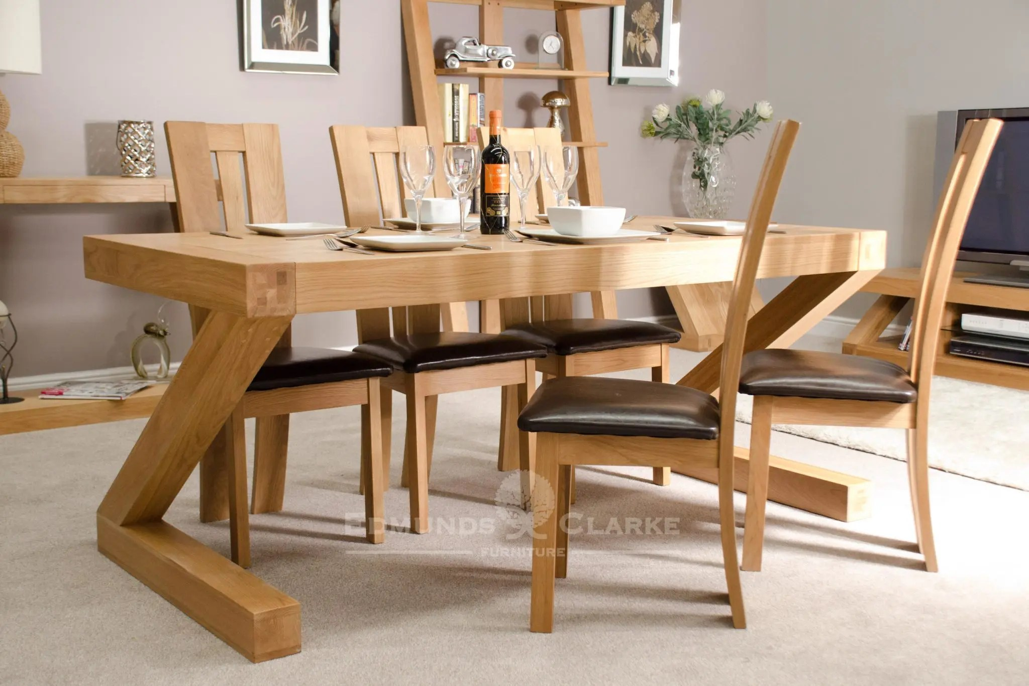 Marvelous Z Designer Solid Oak Large Dining Table Home Interior And Landscaping Ologienasavecom