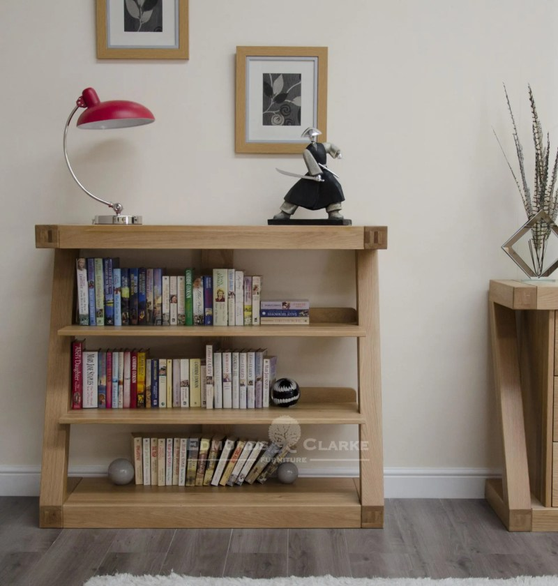 ZSBC designer shaped furniture solid oak bookcase with three shelves