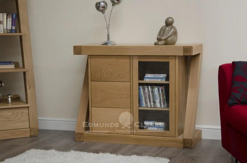 Z style designer solid oak small glazed chest, single glazed door with three drawers ZSMCH