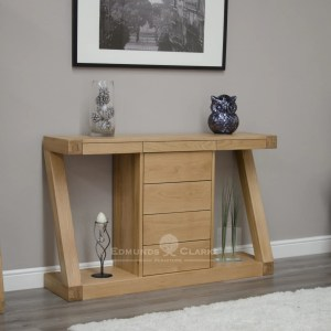 Z designer solid oak console table with four central drawer ZWDHT+D